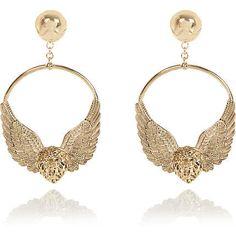 d6bc348d1 Gold tone RI Collection lion hoop earrings - earrings - jewellery - women  Sale Items,