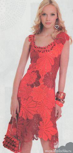 Красное ажурное платье в технике ирландского кружева