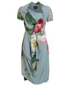 Vivienne Westwood Anglomania Blue and Pink Dress Floral Print Belted Daisy Dress