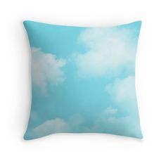 Buy Any 2 & Get 15% OFF - Aqua Blue Sky Throw Pillow by artbyjwp from Redbubble #pillow #throwpillow #cushion #homedecor #pillowcover #clouds #bluesky #phoneaccessories     Capture of a sunny blue sky with small puffy white clouds. • Also buy this artwork on stationery, apparel, stickers, and more.
