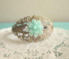 Mint Bridesmaid Cuff Bracelet Corsage Turquoise by Jewelsalem, $15.00