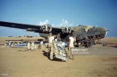 A view as the 376th Bombardment Group works on a B-24-Liberators at the U.S Air Force Base in Benghazi, Libya.