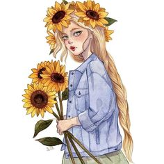 Image in كلشي🌸🍃 collection by ོ on We Heart It Girly Drawings, Art Drawings Sketches, Colorful Drawings, Sunflower Drawing, Arte Sketchbook, Cartoon Girl Drawing, Cartoon Art Styles, Anime Art Girl, Cute Art
