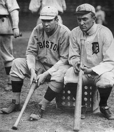 Tris Speaker (Red Sox) and Ty Cobb (Tigers) - Ernie Harwell Sports Collection, Burton Historical Collection via the Detroit Public Library) Detroit Sports, Detroit Tigers Baseball, Boston Sports, Cleveland Baseball, Pittsburgh Sports, Nationals Baseball, Baseball Players, Baseball Cards, Baseball Stuff