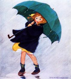 Illustration by Jessie Willcox Smith- April 1922 Cover of Good Housekeeping Magazine Umbrella Art, Under My Umbrella, Blue Umbrella, Walking In The Rain, Singing In The Rain, Betty Boo, Girl In Rain, Rain Art, Baby Kind