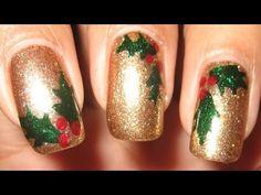 Holly Leaves & Berries Nail Art Tutorial