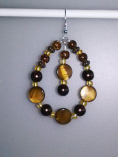 Tigers Eye and Akoya Pearl Dangle Earrings