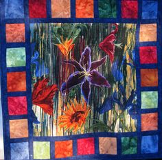 Dramatic Floral Wall Art Quilt by KellettKreations on Etsy, $69.00