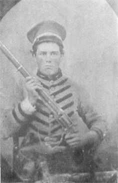 Francis Marion Agee, from Gibson County, TN. holds a Colt Revolving Rifle. As a member of the 22nd Tennessee Infantry, Agee was killed on April 6, 1862 at Shiloh.