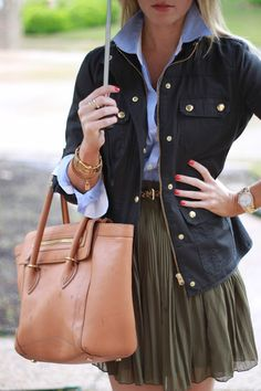 Field Jacket, dark green skirt, leopard print belt, light blue blouse and gold jewelry accents