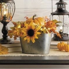 Sunflower Table Centerpieces, Mason Jar Centerpieces, Floral Centerpieces, Fall Mantel Decorations, Thanksgiving Decorations, Harvest Decorations, Autumn Display, Fall Arrangements, Fall Home Decor
