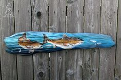 Double Reds- Louisiana driftwood with dual Gulf Coast red drum fish dining on bluefish. 39 wide by 9 high. Spray painted and hand painted Custom Metal Art, Driftwood, Louisiana, Drums, Coast, Wildlife, Fishing, Southern, Hand Painted