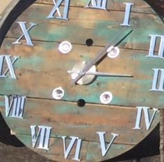 32 inch spool clock with metal numbers by Weatheredfinishes