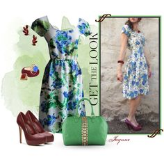 """""""'Blue Floral Garden'"""" by ladyjaynne on Polyvore"""