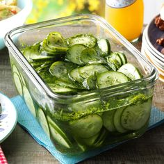 Crisp, garden-fresh cukes are always in season when we hold our family reunion, and they really shine in this simple salad. The recipe can easily be expanded to make large quantities, too. —Betsy Carlson, Rockford, Illinois Make Ahead Salads, Easy Salads, Summer Salads, Easy Meals, Marinated Cucumbers, Creamed Cucumbers, Cucumber Recipes, Salad Recipes, Cucumber Appetizers