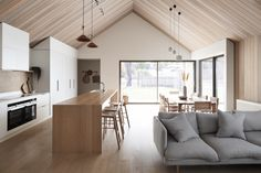 Project Felix by Leÿer - Project Feature - Australian Coastal Architecture - The Local Project Australian Architecture, Interior Architecture, Interior Design, Timber Ceiling, Raked Ceiling, Modern Ceiling, Timber Cabin, Lofts, Living Area
