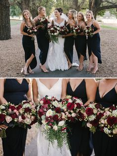 Modern navy bridesmaid dresses with burgundy bouquets | Bec Matheson Photography