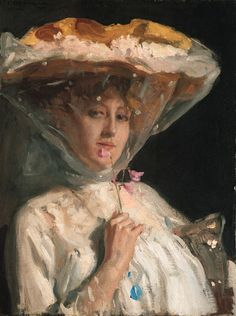 Sweet Peas, Portrait of a Lady in a Hat and Veil, 1904, Joseph Oppenheimer. Brithsh (1876 - 1966)