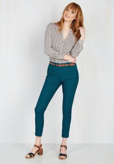 Situationally Savvy Pants in Lagoon. With a business lunch, a multitude of meetings, and date night all on the agenda, these teal pants - in a hue exclusive to ModCloth - will have you looking like youve dressed specially for each occasion! Business Casual Outfits, Casual Summer Outfits, Business Attire, Teal Pants Outfit, Dress Pants, Work Fashion, Fashion Outfits, Mustard Pants, Summer Work Outfits