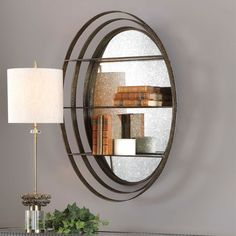 Dimensions: D x W x H Weight: 17 lbs Materials: Glass, MDF, Iron Mirror Dimensions: W x L x D Elegant Iron Strapping, Forged And Hand Hammered In A Weathered Bronze Finish. Three Mirrored Shelves Offer Decorative Storage With A Rich Antique Mirrored Back. Circle Wall Shelf, Wall Mirror With Shelf, Wall Shelves, Feng Shui, Entryway Decor, Wall Decor, Curved Staircase, Shabby Chic Bedrooms, Metal Walls