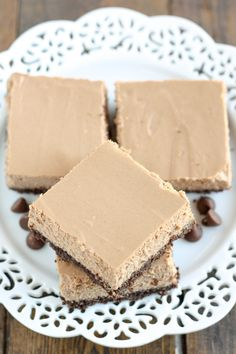 These Skinny Mocha Cheesecake Bars are lightened up with Greek yogurt and less sugar! Serve these bars for an easy and lighter dessert.