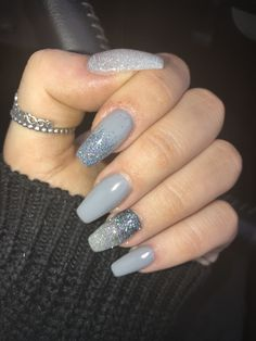 163 amazing nail designs ideas for short nails to try page 33 Sparkle Acrylic Nails, Grey Acrylic Nails, Simple Acrylic Nails, Silver Nails, Gray Nails, Grey Nail Designs, Acrylic Nail Designs, Hot Nails, Nagel Gel