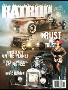 Lisa del toro with Kyle hogue'so sedan shot for cover feature of rat rod mag