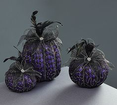 #burtonandburton Purple pumpkin Halloween décor.<br>3 assorted size foam…