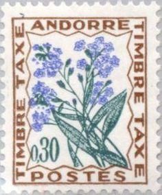 Sello: Forget-me-not (Andorra (Administración Francesa)) (Flowers) Yt:AD-FR T50,Mi:AD-FR P49,Sn:AD-FR J50,Sg:AD-FR FD196,Edi:AD-FR T50