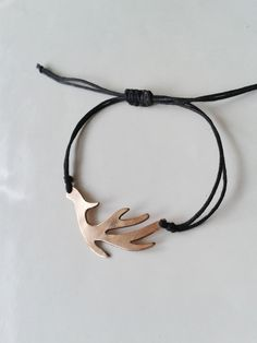Oxidized Bronze Deer Antler Bracelet  by GaiaJewelryDesign on Etsy