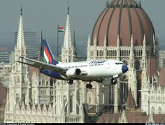 MALÉV Hungarian Airlines Boeing HA-LEX flying over the Danube in central Budapest, May Part of festivities celebrating Hungary's membership of the European Union. Boeing Aircraft, Military Helicopter, Commercial Aircraft, Flight Deck, Cabin Design, Jets, Hungary, Airplane, Aviation