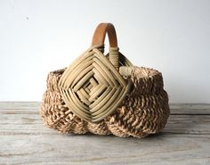Handwoven Egg Basket with Wood Handle by OceanSwept on Etsy, $42.00