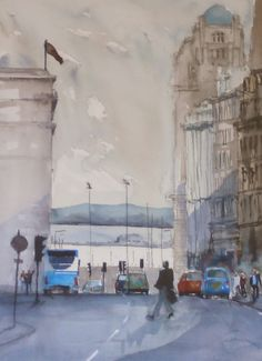 a watercolour of white light on the buildings and river near the Pier Head, Liverpool. SOLD