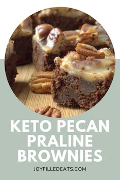 These Pecan Praline Brownies are my absolute favorite brownie ever. They are fudgy, full of chocolate chips, and covered with a layer of pecan praline. They are Low Carb, Keto, Grain-Free, Gluten-Free, Sugar-Free, and a THM S. Desserts For A Crowd, Sugar Free Desserts, Low Carb Desserts, Low Carb Recipes, Gluten Free Bars, Sweet And Low, Pecan Pralines, Keto Dessert Easy, Low Carb Keto