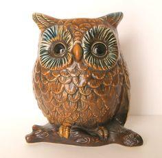 Ceramic Owl Planter Vintage Brown Collectible
