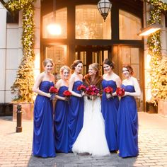 Romantic deep blue bridal gowns | Photographer: averyhouse | www.theknot.com