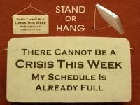 We carry lots of funny office gift plaques! Get your holiday gifts here at Absolute Inspirations gift store! (http://www.inspirationalgiftstore.com/funny-office-gift-plaque-there-cannot-be-another-crisis-this-week/)