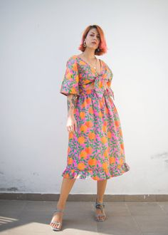 Orange garden print midi skirt in organic cotton fabric #ethicalfashion #affiliatelink