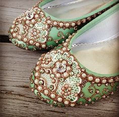 Golden Vines Bridal Ballet Flats Wedding Shoes - Any Size - Pick your own shoe color and crystal color on Etsy, $245.00