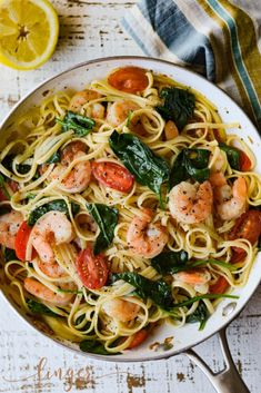 Shrimp Scampi Pasta with Spinach and Cherry Tomatoes is fresh and bright for a summertime meal. Butter, garlic and wine bring a rich flavor to this dish. food pasta recipes white wines Shrimp Scampi Pasta with Spinach and Cherry Tomatoes Easy Pasta Recipes, Seafood Recipes, Dinner Recipes, Easy Meals, Cooking Recipes, Healthy Recipes, Shrimp Pasta Recipes, Shrimp And Scallop Recipes, Angel Hair Pasta Recipes