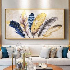 Canvas painting wall art golden tulip flower oil painting family living room home decoration restaurant modern painting-in Painting & Calligraphy from Home & Garden on AliExpress Abstract Wall Art, Canvas Wall Art, Art Sur Toile, Painting Words, Feather Art, Unique Wall Art, Lovers Art, Painting Inspiration, Art Pictures