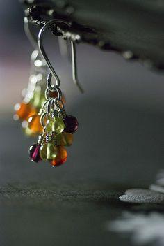 HARVEST - Carnelian, Peridot, Garnet Sterling Silver Cluster Earrings by Moss & Mist Jewelry by Moss & Mist Jewelry, via Flickr