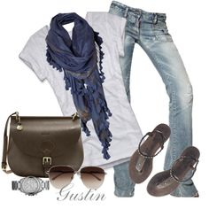 blue scarf dresses up your basic jeans and T :)