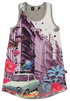 Heel leuk singlet jurkje van Molo. Het jurkje heeft op de voorkant een print van een stad met kleurrijke dieren en bloemen.  Molo Cortney grey melange www.kidsindustry.nl