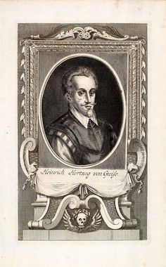 """This is an original 1721 black and white copper engraving of """"Heinrich Hertzog von Guise."""" This is a portrait of Henry I, Prince of Joinville, Duke of Guise, Co"""