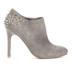 Studded grey suede heel bootie