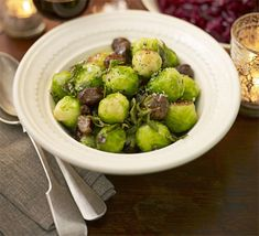 Brussels sprouts with chestnuts & sage recipe Bubble And Squeak, Sage Recipes, Sprout Recipes, Vegan Lunch Recipes, Bbc Good Food Recipes, Braised Red Cabbage, Bbc Good Food Show, Sprouts With Bacon, Winter Vegetables