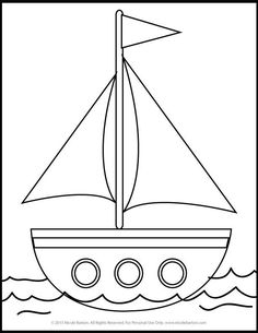 Free Sailboat Printable Coloring Pages for Kids Colouring Pages, Adult Coloring Pages, Coloring Sheets, Coloring Books, Art Drawings For Kids, Drawing For Kids, Easy Drawings, Applique Patterns, Applique Designs