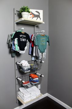 DIY clothes rack for a nursery if you don't have a closet and need to store baby clothes.
