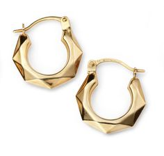 25adc63fa Items similar to Small Yellow Gold Diamond Cut Hoops on Etsy